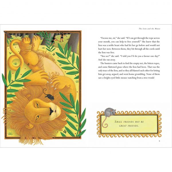 Illustration for Aesop's 'The Lion and the Mouse'.