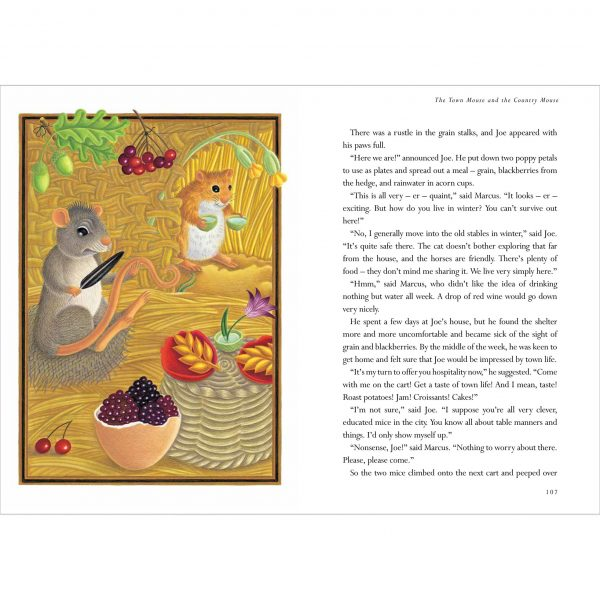 Illustration from The Lion Classic Aesops Fables. 'The Town Mouse and the Country Mouse'