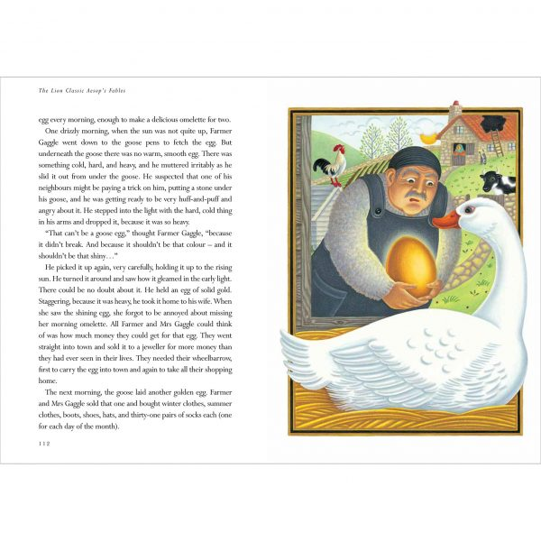 Illustration from The Lion Classic Aesops Fables. 'The Goose That Laid the Golden Eggs'