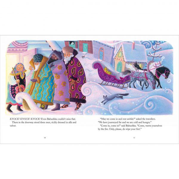 Illustration from Babushka by Dawn Casey 'Babushka welcomes the three wise men'