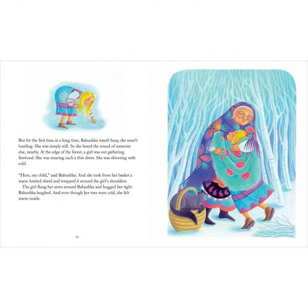 Illustration from Babushka by Dawn Casey 'Babushka hugs the little girl tight'