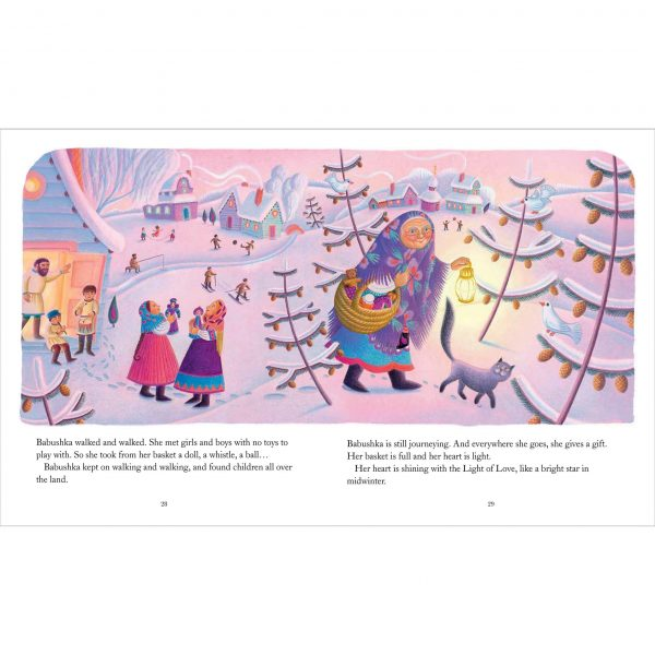 Illustration 'Babushka gives gifts to the children'