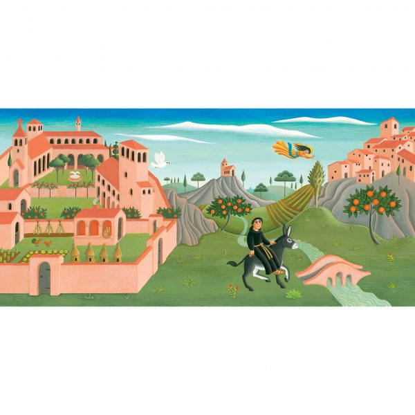 Illustration from Brother Giovanni's Little Reward 'Giovanni riding in a medieval landscape'
