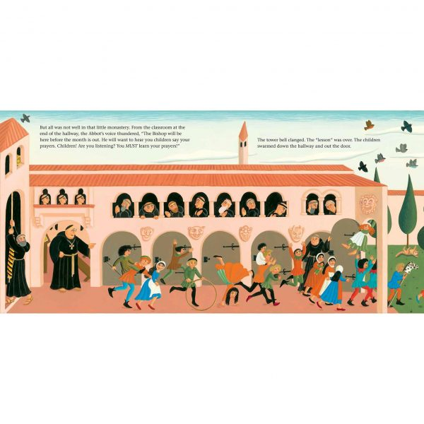 Illustration from Brother Giovanni's Little Reward 'The children being noisy in the monastery'