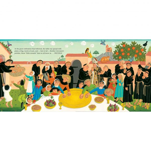 Illustration from Brother Giovanni's Little Reward 'A Pretzel party at the monastery'