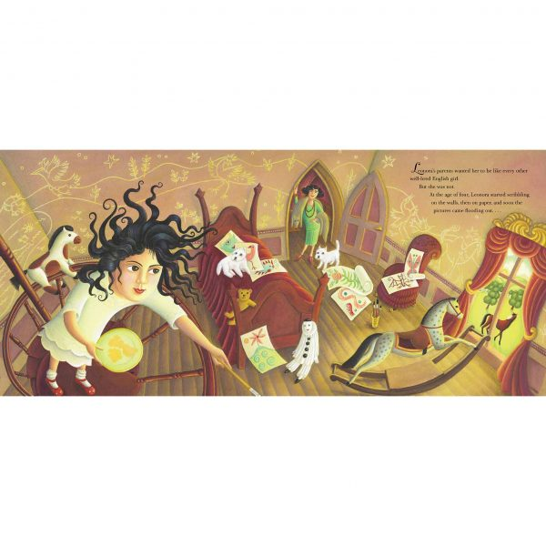 Illustration from Out of This World: The Surreal Art of Leonora Carrington. 'Leonora painting the walls of her bedroom'