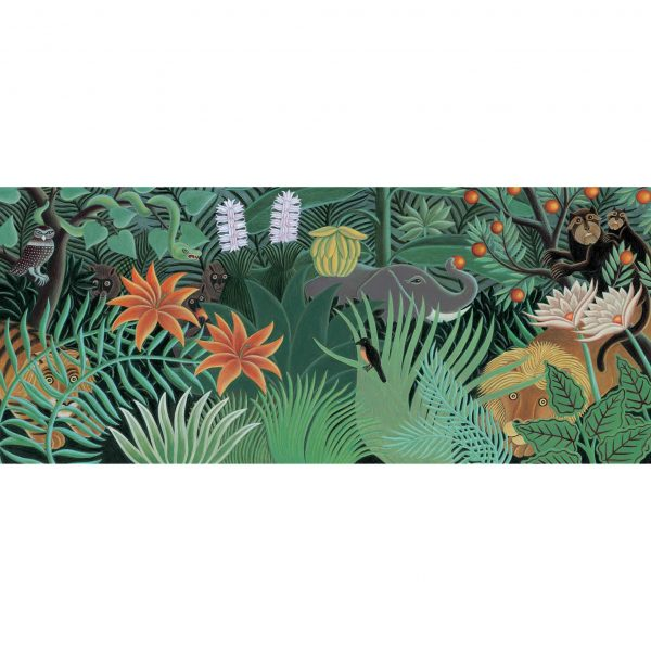 Endpaper Illustration from The Fantastic Jungles of Henri Rousseau. 'Henri Rousseau's fantastic jungle with lion, tiger, elephant and monkeys peeping out'