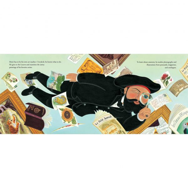 Illustration 'Henri Rousseau the painter, floating through the air, examining his favourite paintings'