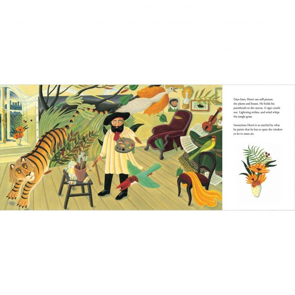 Illustration from The Fantastic Jungles of Henri Rousseau. 'Henri Rousseau painting in his studio. He can see the jungle right in front of his eyes'