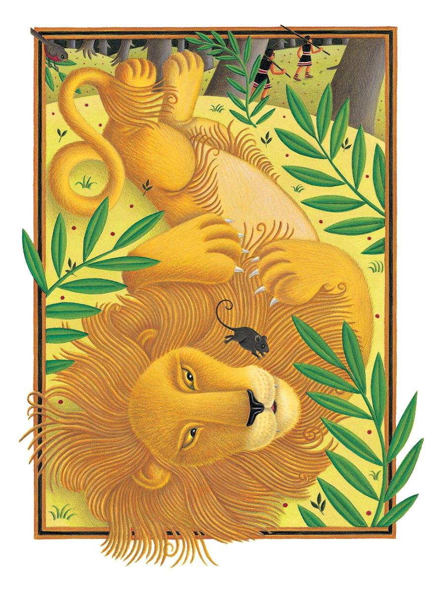 The Lion Classic Aesops Fables Gallery. Illustration 3 'The Lion and the Mouse' (Pixel dimensions available w2058 x h2693)
