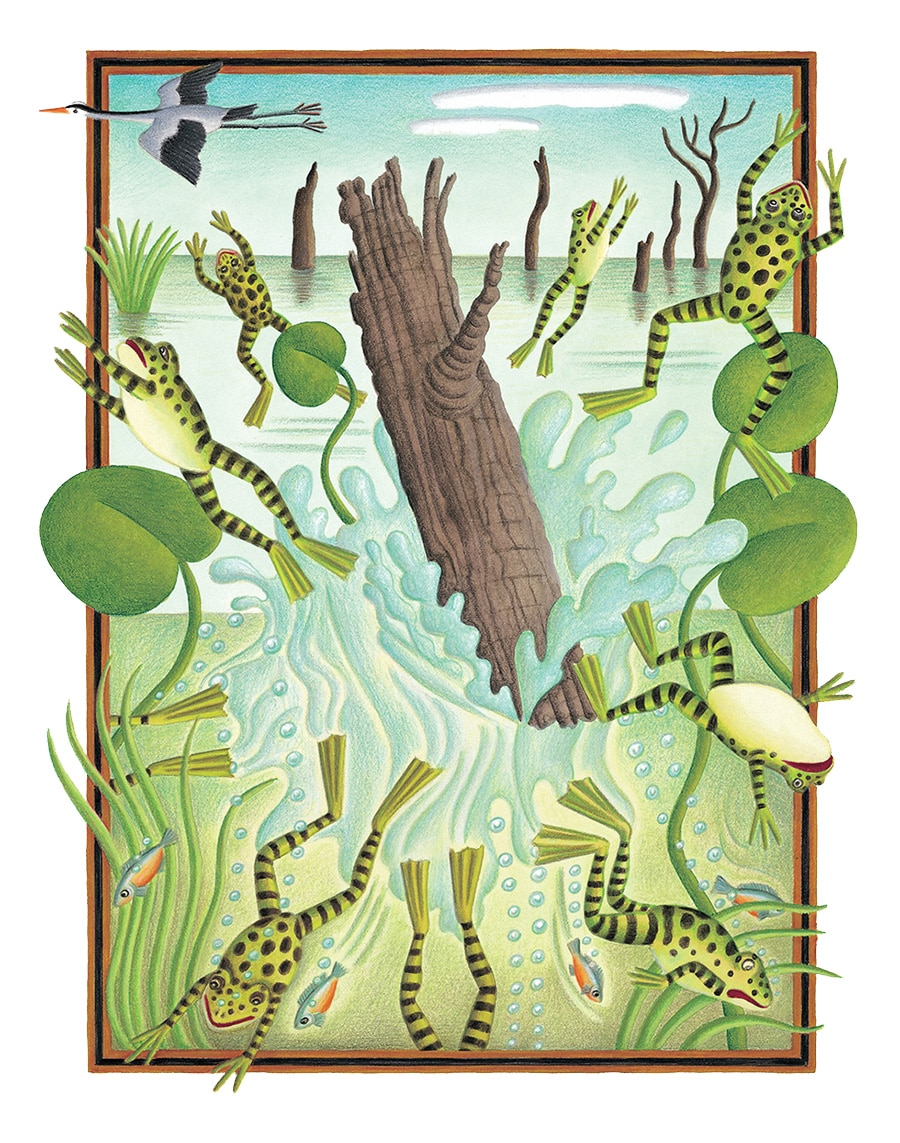 The Lion Classic Aesops Fables Gallery. Illustration 10 'The Frogs Who Asked for a King' (Pixel dimensions available w2206 x h2647)