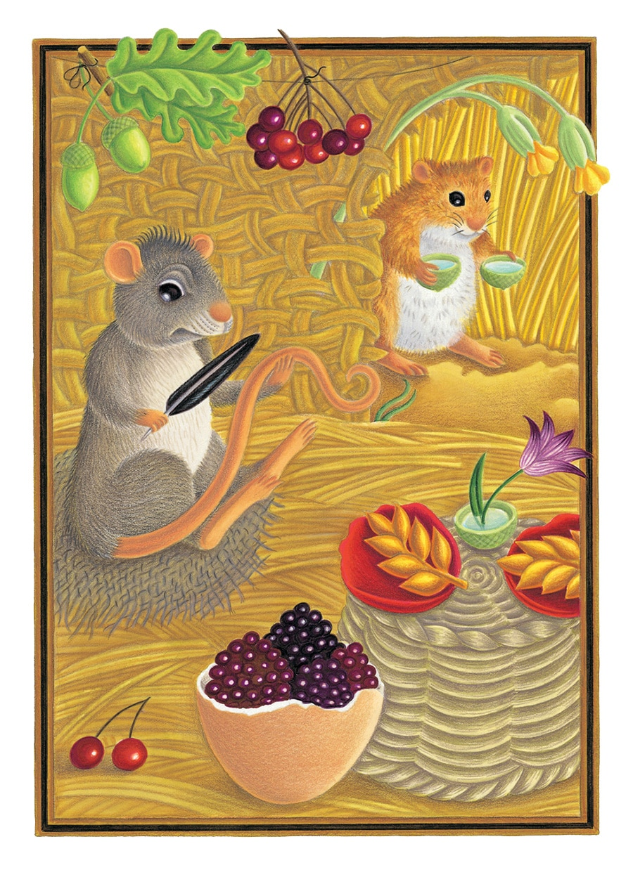 The Lion Classic Aesops Fables Gallery. Illustration 47 'The Town Mouse and the Country Mouse' (Pixel dimensions available w1807 x h2526)