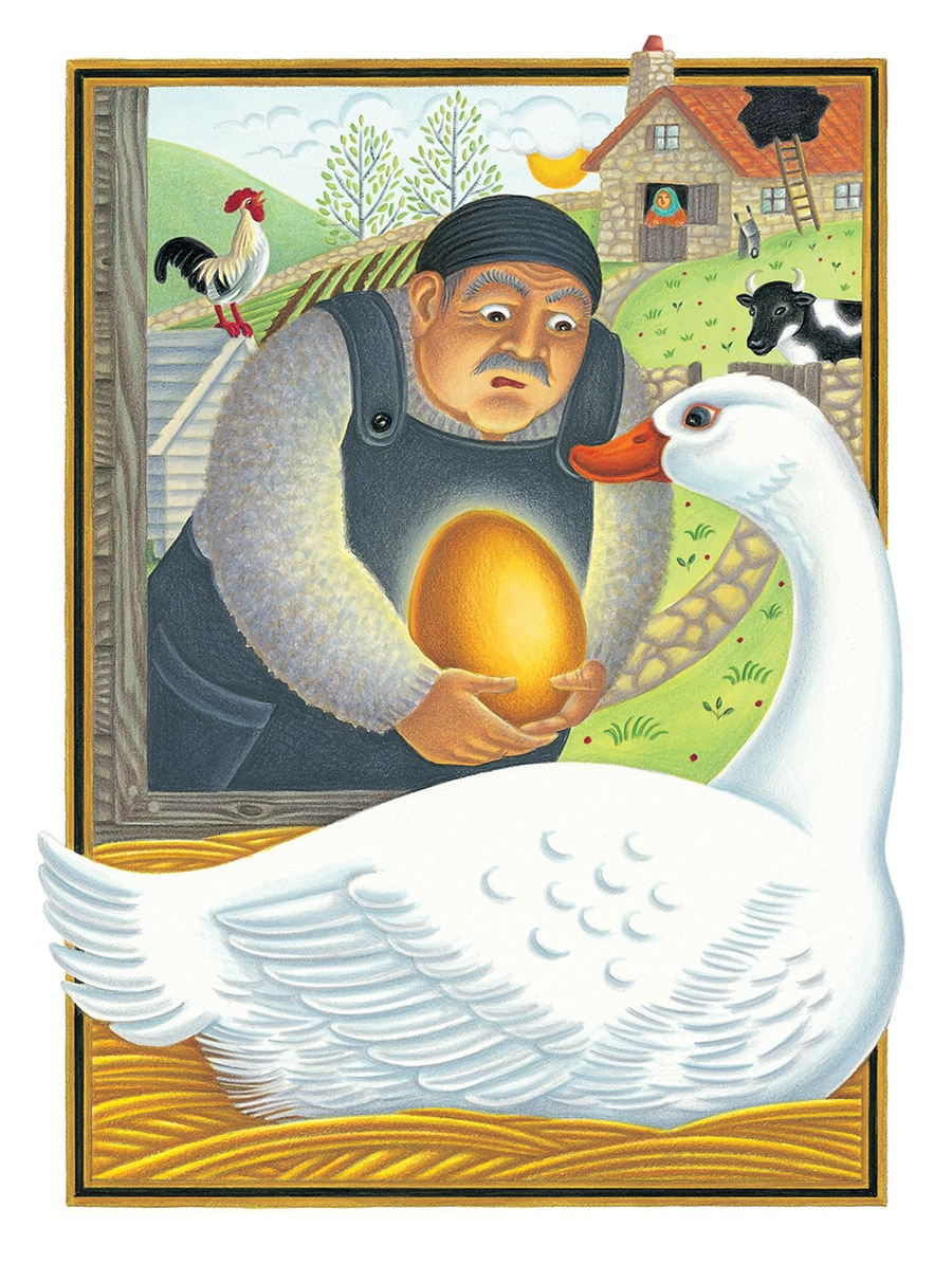 The Lion Classic Aesops Fables Gallery. Illustration 49 'The Goose That Laid the Golden Eggs' (Pixel dimensions available w1981 x h2712)