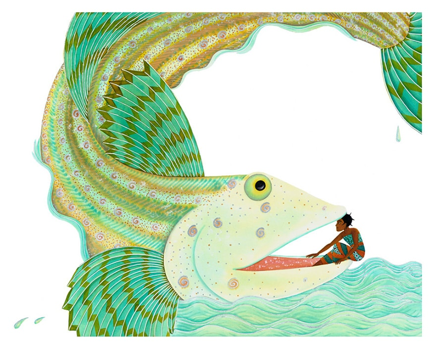 Illustrations for Children's Picture Books. Illustration 8 'Hadiyah talks to the Great Fish' (Pixel dimensions available w5760 x h4568)