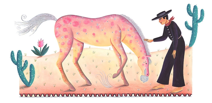 Illustrations for Children's Picture Books 9 RAINBOW HORSE (Pixel dimensions available w4077 x h1978)