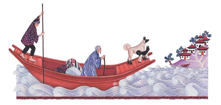 Illustrations for Children's Picture Books. Illustration 12 'Then he got a ride across the river' (Pixel dimensions available w9777 x h4720)