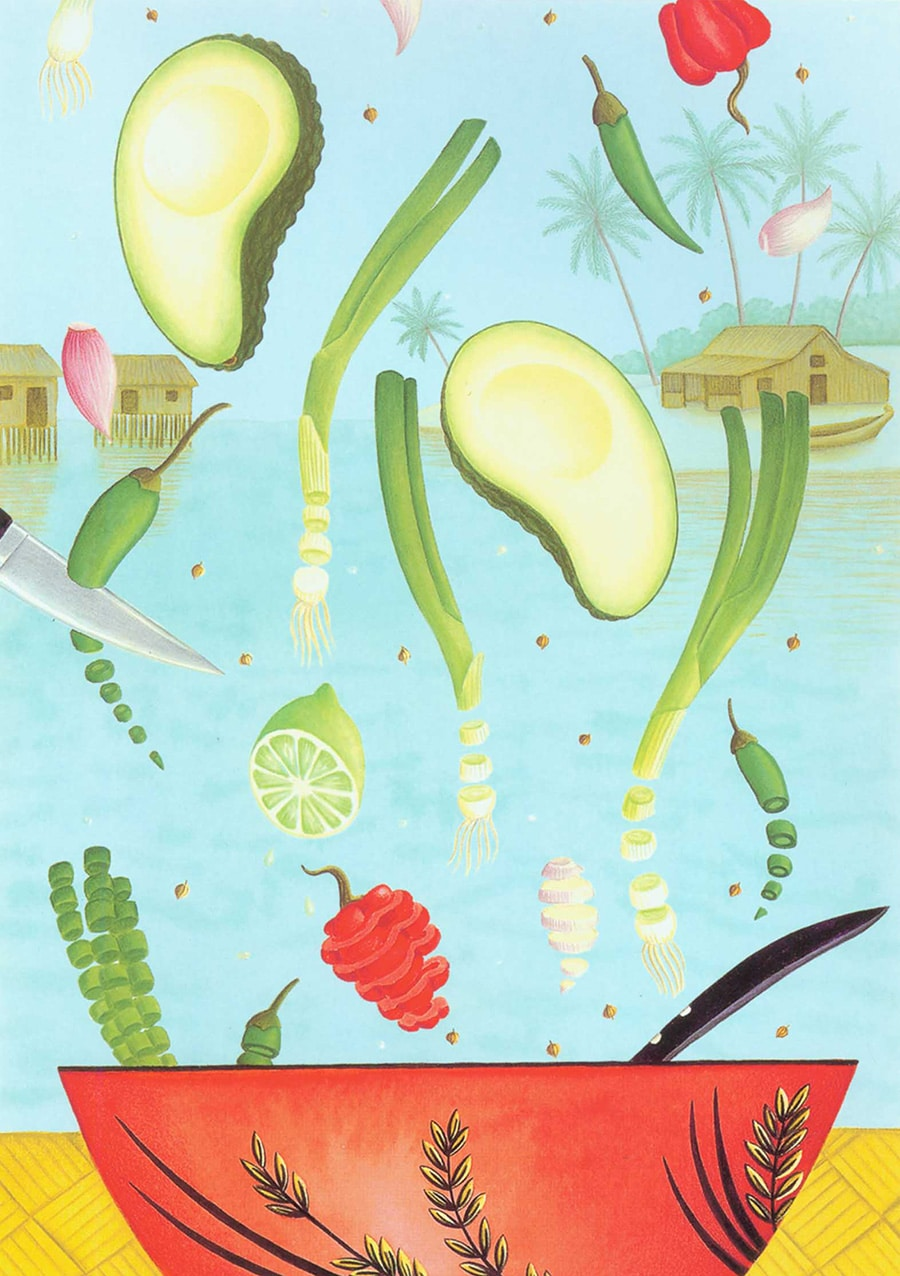 Hand Drawn Food Illustrations. Illustration 4 'Avocado Dip' (Pixel dimensions available w1572 x h2228)