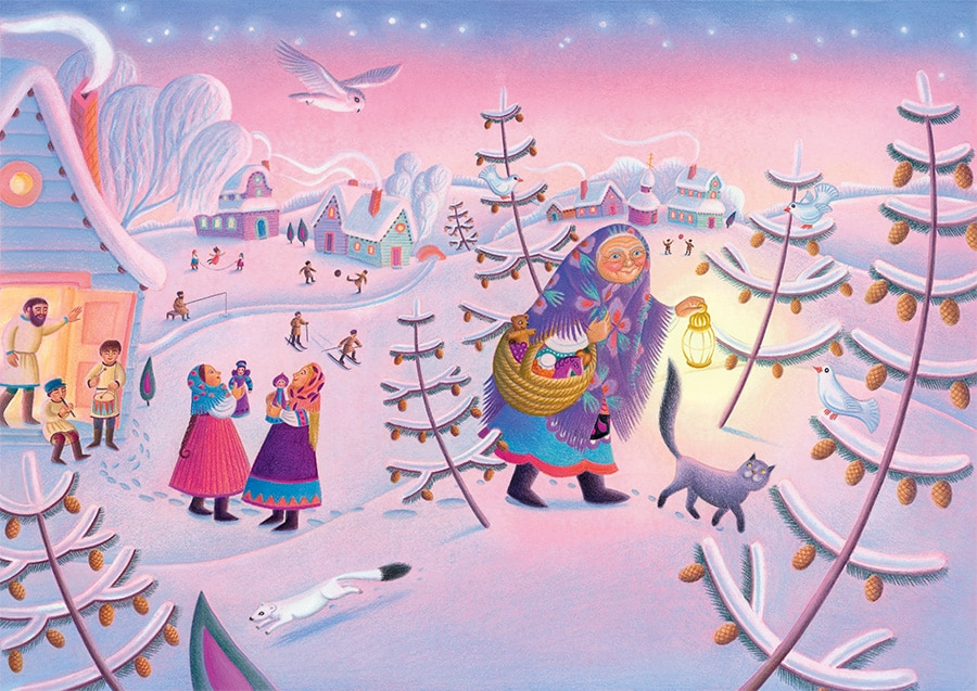 Babushka by Dawn Casey Gallery. Illustration 1 'Cover, Babushka and her cat giving presents to the children' (Pixel dimensions available w5080 x h3600 includes bleed)