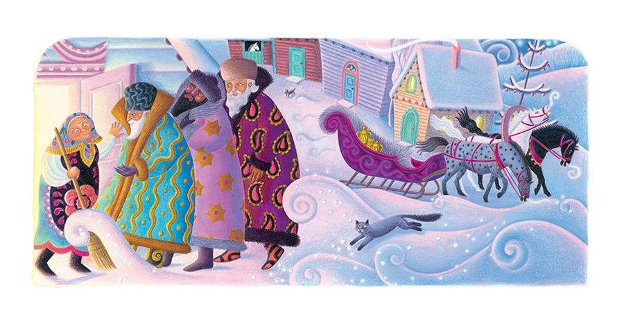 Babushka by Dawn Casey Gallery. Illustration 6 'Babushka welcomes the three wise men' (Pixel dimensions available w4726 x h2139)