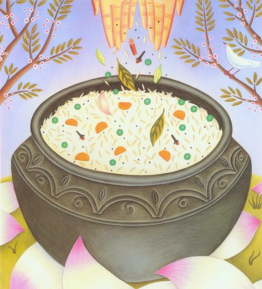 Hand Drawn Food Illustrations. Illustration 5 'Biryani' (Pixel dimensions available w1572 x h1731)