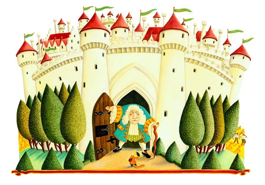 Illustrations for Children's Picture Books. Illustration 26 'The Marquis of Carabas's Castle' (Pixel dimensions available w3401 x h2373)