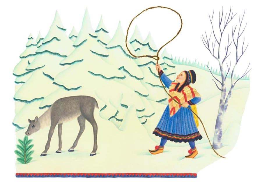 Illustrations for Children's Picture Books. Illustration 28 'Nastai, catching a young reindeer' (Pixel dimensions available w3311 x h2392)