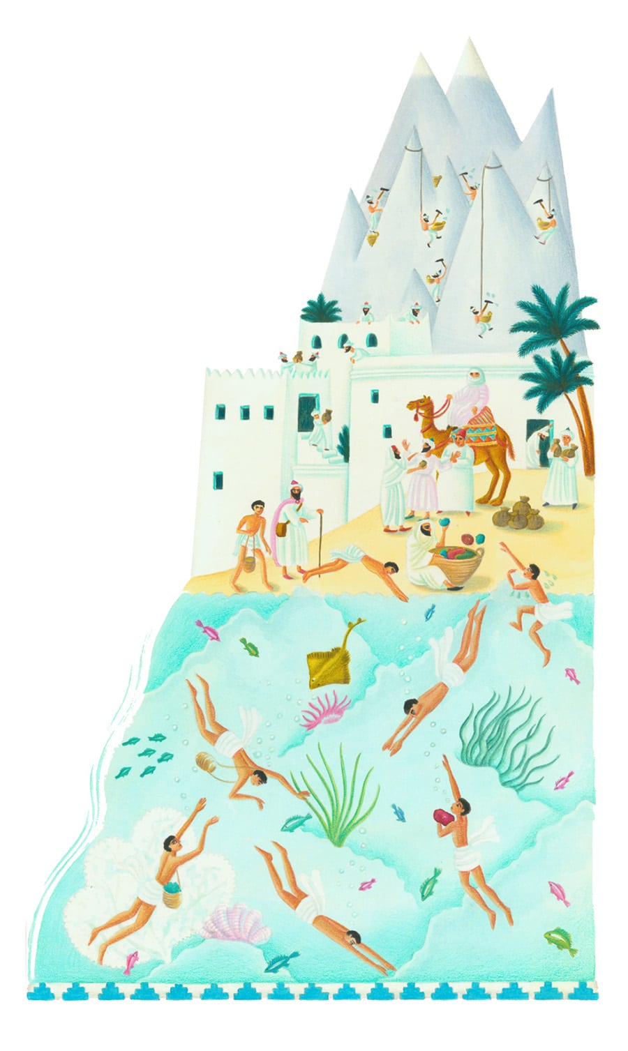 Illustrations for Children's Picture Books 30 PEARL DIVERS (Pixel dimensions available w1999 x h3360)