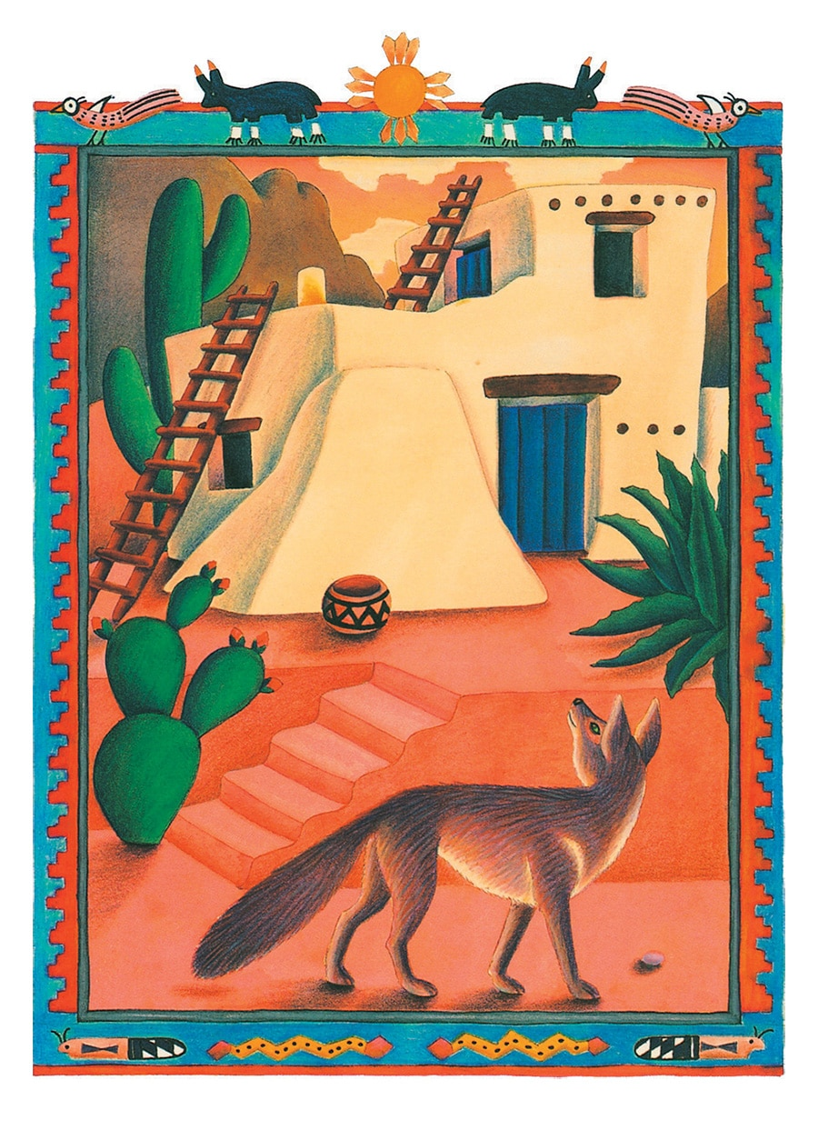 Coyote Girl Gallery. Illustration 5 'Blue Corn Maiden found herself standing outside a small hut'