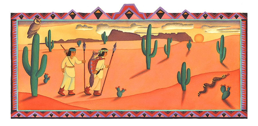Coyote Girl Gallery. Illustration 6 'All day the hunters walked and walked with Coyote Girl'