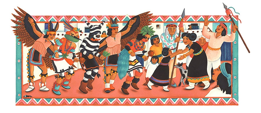 Illustration 9 'The villagers sang and danced in the square'