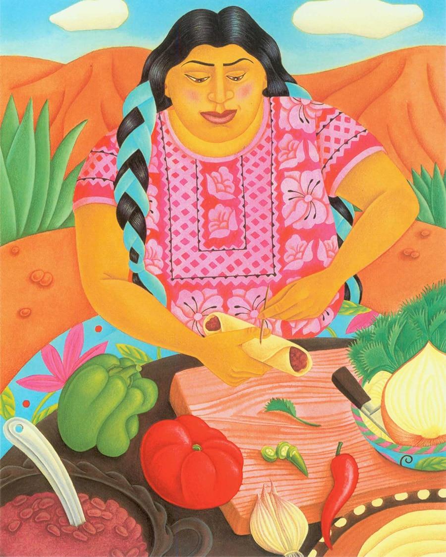 Hand Drawn Food Illustrations. Illustration 7 'Enchiladas de Frijoles' (Pixel dimensions available w1572 x h1960)