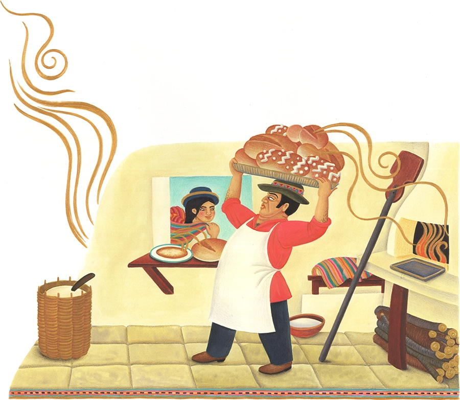 """Illustration 15 """"You like the smell of my bread,"""" said the baker' (Pixel dimensions available w6251 x h5440)"""