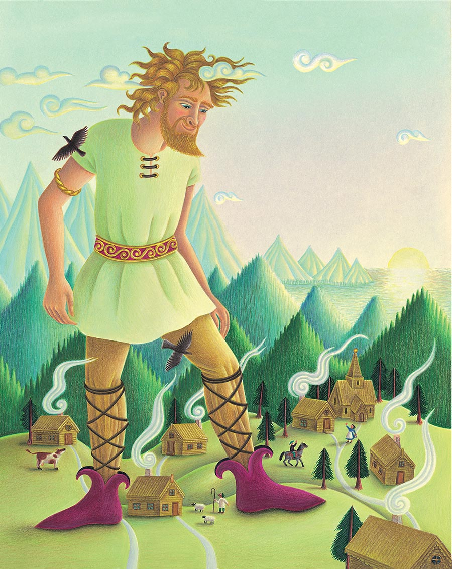 Giant Tales by Fiona Waters Gallery. Illustration 1 'Giant Tales cover, a Norse giant looks down at the village below' (Pixel dimensions available w3145 x h3960 includes bleed)
