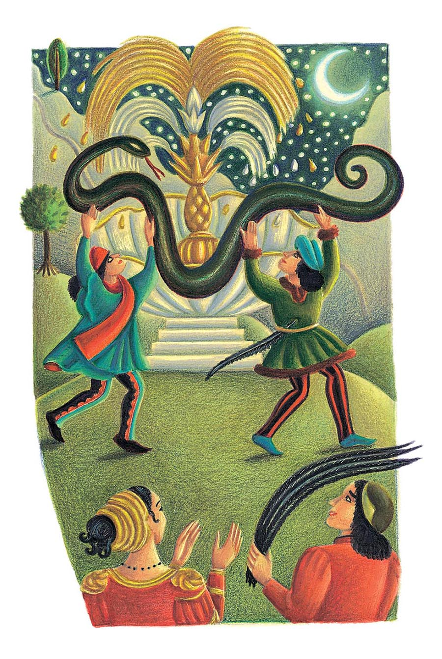 Giant Tales by Fiona Waters Gallery. Illustration 20 'The two noblemen had uncoiled the snake'  (Pixel dimensions available w1165 x h1734)