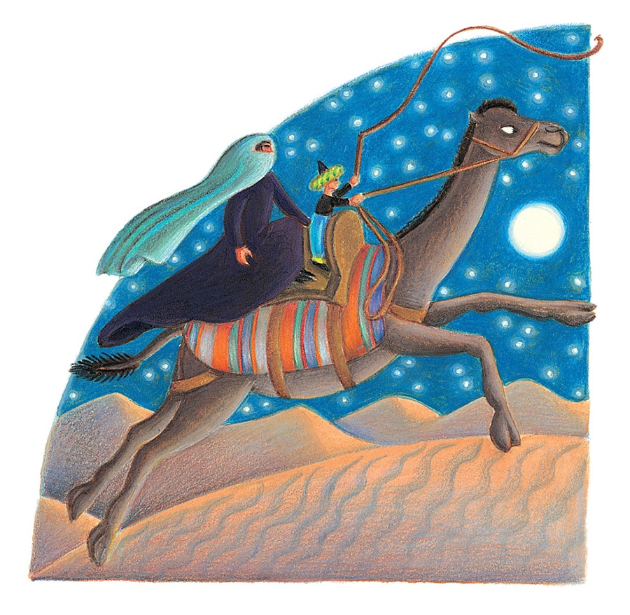 Giant Tales by Fiona Waters Gallery. Illustration 25 'The Maharishi sped across the dessert on the camel' (Pixel dimensions available w1300 x h1274)