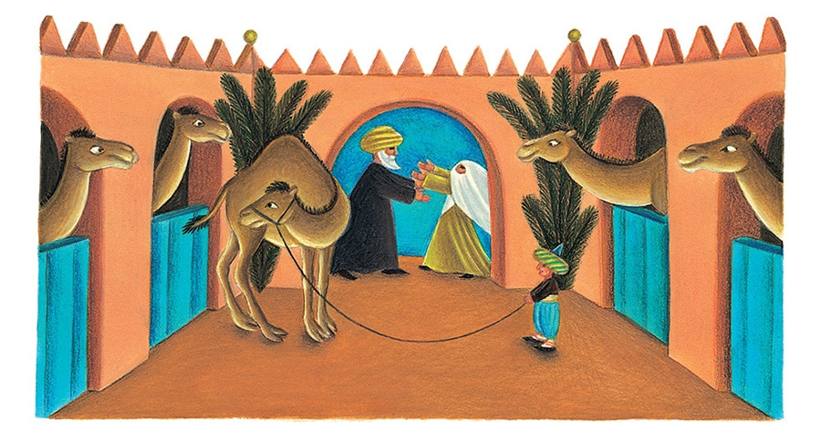 Giant Tales by Fiona Waters Gallery. Illustration 26 'He hugged Fatima and then Small Abdul' (Pixel dimensions available w2057 x h1119)