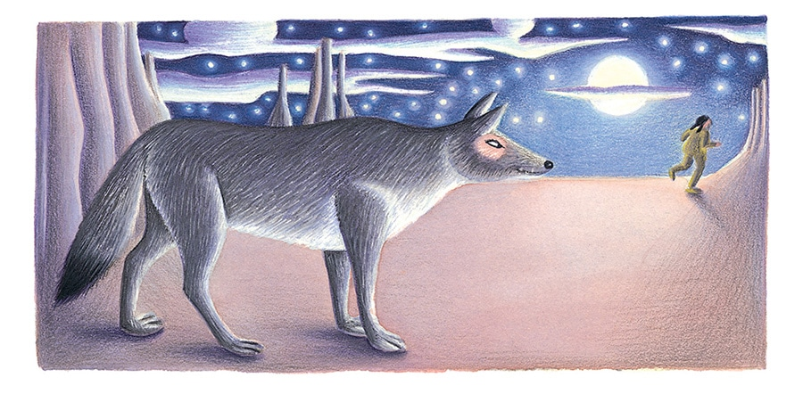 Giant Tales by Fiona Waters Gallery. Illustration 35 'He is a tricksy customer, that Coyote' (Pixel dimensions available w2002 x h979)