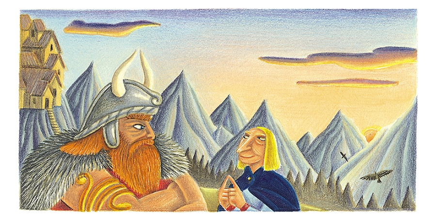 "Giant Tales by Fiona Waters Gallery. Illustration 37 ""Let me come with you,"" whined Loki, the trickster' (Pixel dimensions available w1685 x h863)"