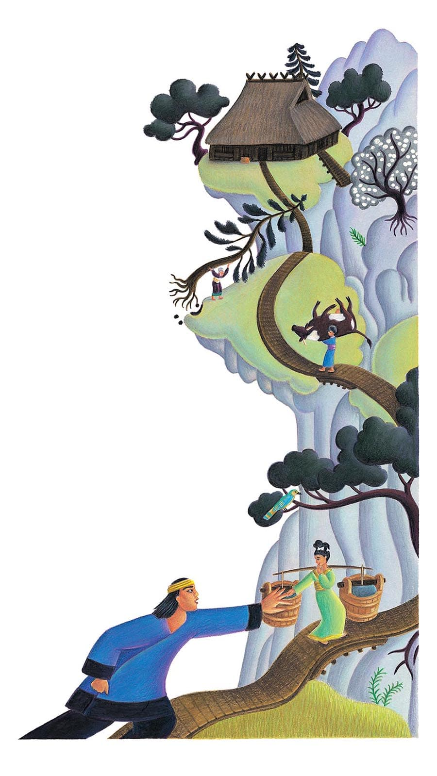 Giant Tales by Fiona Waters Gallery. Illustration 4 'The girl led him up a steep mountain track' (Pixel dimensions available w2525 x h4485)