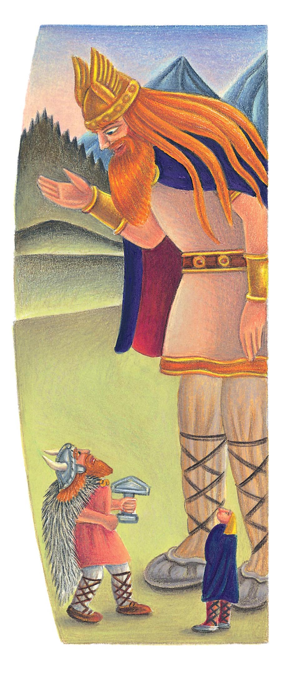 Giant Tales by Fiona Waters Gallery. Illustration 43 'Thor looked at Utgard-Loki in great bewilderment' (Pixel dimensions available w821 x h1983)