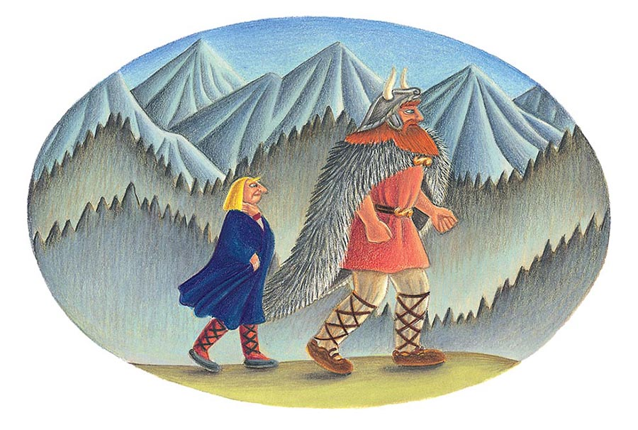 Giant Tales by Fiona Waters Gallery. Illustration 44 'Thor, as he strode back to Asgard' (Pixel dimensions available 1829 x h1231)
