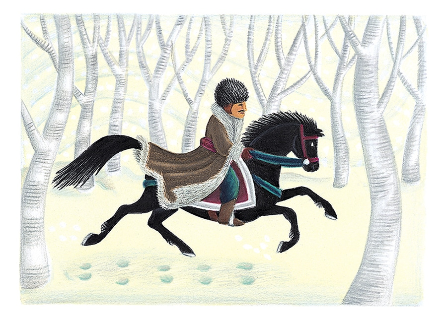 Illustration 70 'Nikolai galloping off to seek out the old wise woman' (Pixel dimensions available w1533 x h1105)