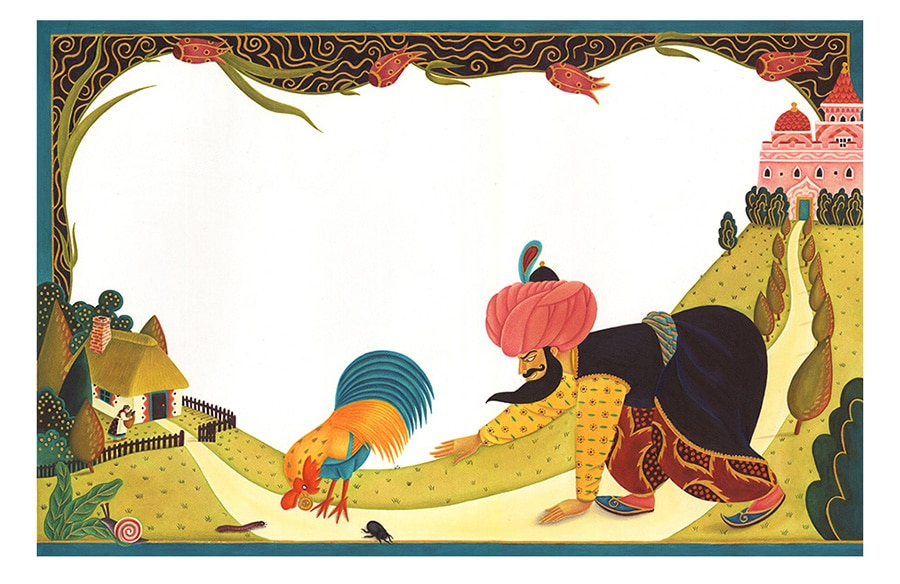Illustrations for Children's Picture Books. Illustration 21 'The Sultan snatched the golden button from the Rooster' (Pixel dimensions available w10503 x h6870)