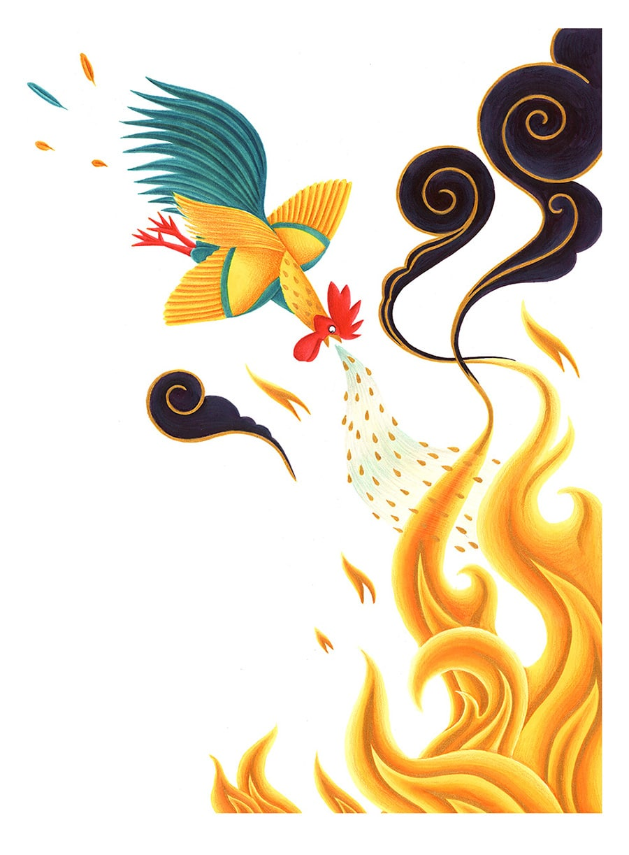 Illustrations for Children's Picture Books. Illustration 22 'All the water came pouring out of the Little Rooster's mouth' (Pixel dimensions available w5122 x h6870)