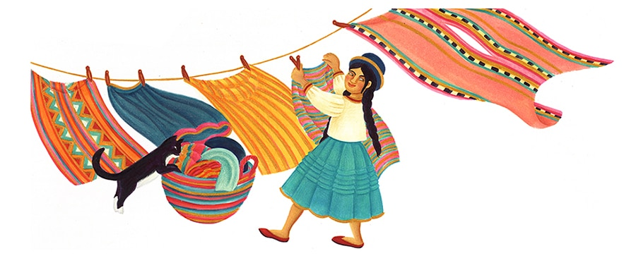 Illustrations for Children's Picture Books. Illustration 24 ''Each morning Maria got up early and washed clothes' (Pixel dimensions available w6072 x h2513)