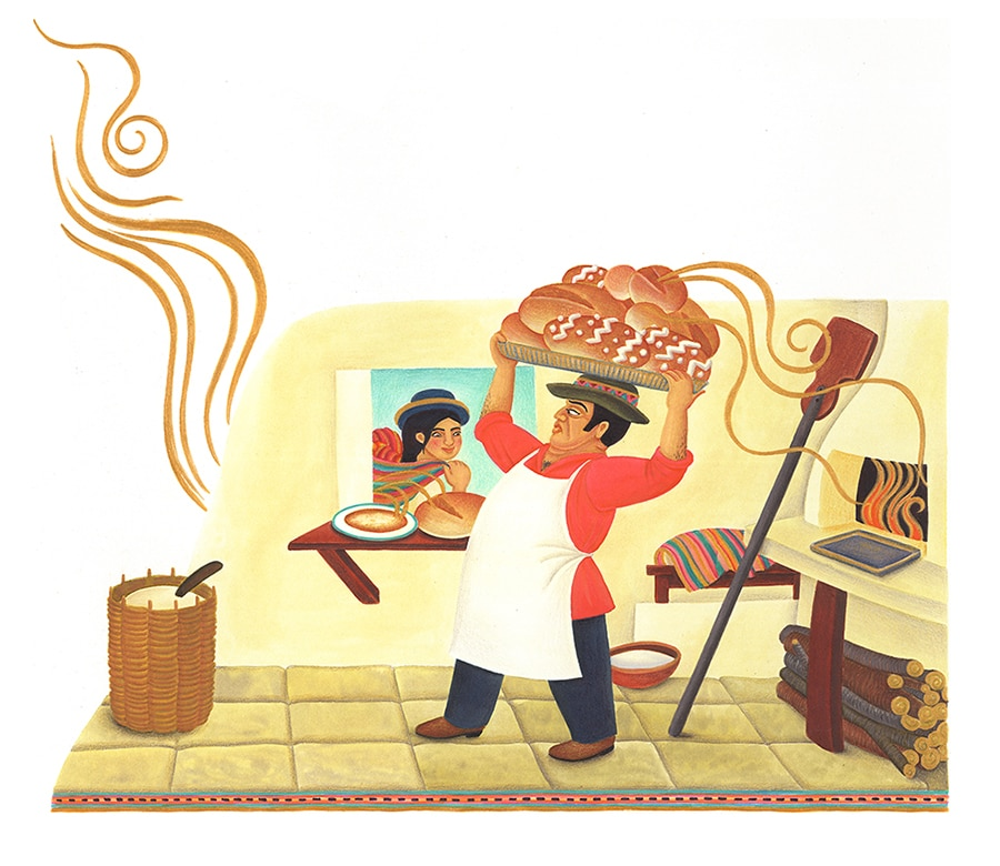 """Illustrations for Children's Picture Books. Illustration 23 """"You like the smell of my bread,"""" said the baker' (Pixel dimensions available w6251 x h5440)"""