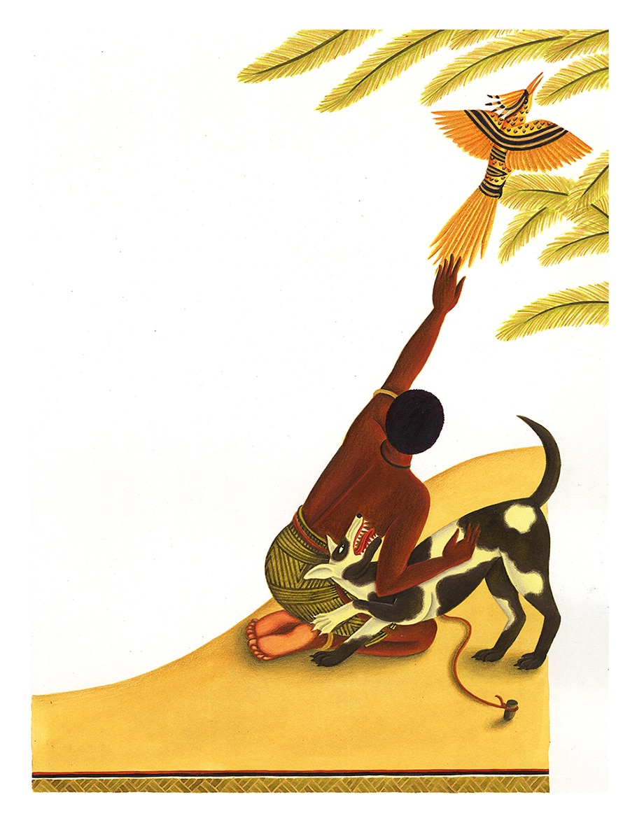 Illustrations for Children's Picture Books. Illustration 20 'Then Kwende lifted the bird high into the air' (Pixel dimensions available w4644 x h6272)