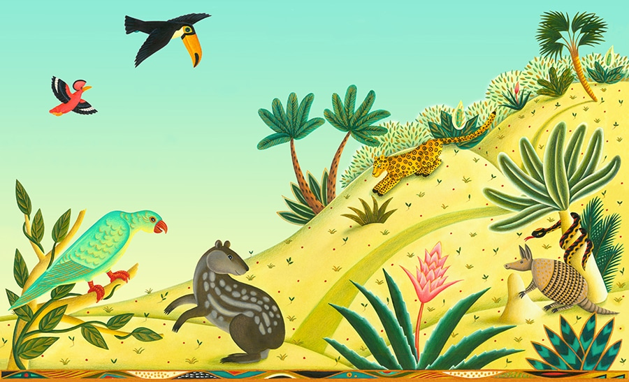 Illustrations for Children's Picture Books 17 HILL SCENE – WITH BLEED (Pixel dimensions available w5057 x h3075)