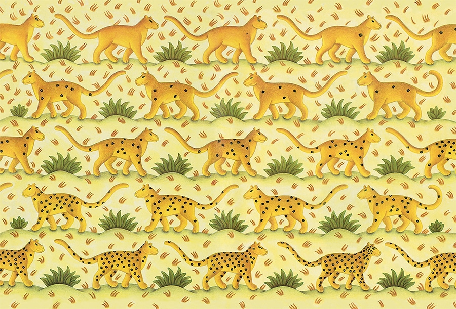 How the Leopard got his Spots Gallery. Illustration 1 'Endpaper of marching leopards' (Pixel dimensions available w4900 x h3325 includes bleed)