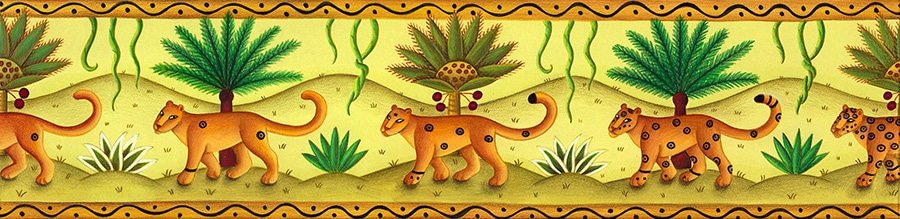 Illustration 15 'Marching Leopards Border' (Pixel dimensions available w3423 x h833)